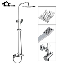 1 Set Thermostanic Shower Mixer Complete Units Chrome Bathroom Bath Twin Head Square Brass Wall Mounted Faucet Water Tap SR3