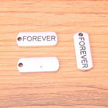 12pcs Antique Silver Plated Word FOREVER Charms Handmade Jewelry Findings 21*8mm(China)