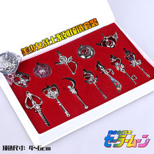 12pcs/set Anime Sailor Moon Cosplay silver Weapon Metal necklace Gifts Box Packing