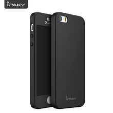 100% Original IPAKY Brand for iPhone 5/5S/SE 6 6S Plus Case 360 Full Coverage Protective Cover with Tempered Glass for iPhone SE(China)