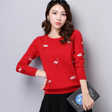 2016 Autumn and winter new women's embroidered sweater women long-sleeved O-neck Little Swan big yards Slim bottoming pullover
