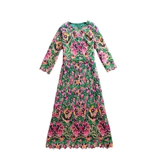 High quality runway new fashion women 2017 autumn and winter complex water-soluble color embroidery dress elegant temperament(China)