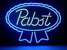 NEON SIGN PABST BLUE RIBBON LAGER ALE REAL    Signboard REAL GLASS BEER BAR PUB  display  outdoor Light Signs 17*14""