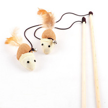 Fashion 1 Pc Wooden Lovely New Pole Hemp Mice Mouse Rods Plaything Environmental Pet Tease Cat Toys