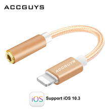 Original Audio Cable ACCGUYS 8 pin to 3.5mm Female Earphone Headset Jack Adapter Headphone converter for iphone 7 7plus 6 6S