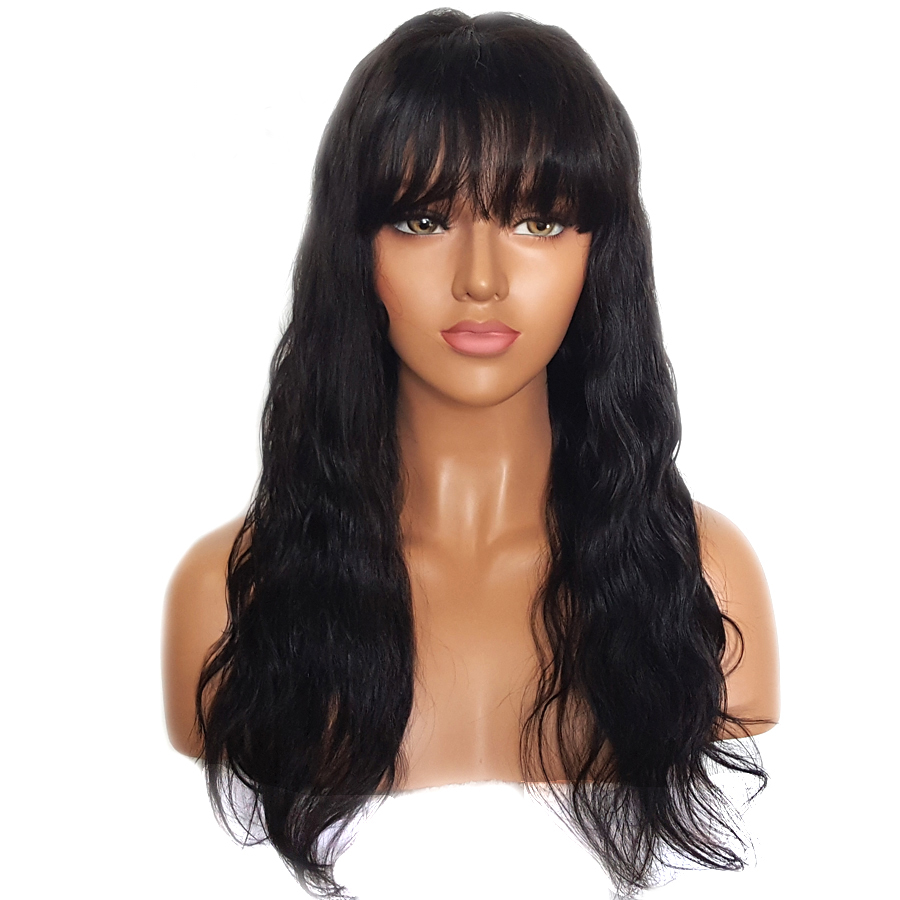 BEEOS 150% Glueless Lace Front Human Hair Wigs With Bangs Remy Hair Wavy Brazilian Wig With Baby Hair Bleached Knots 12-24 Inch (3)