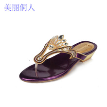2017 Summer Women Shoes New Diamond Flip Flops Low Heel Thong Sandals Gold Crystal Women Party Shoes Clip Toe Slippers