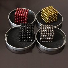 216pcs/set 100set/lot 5mm neodymium magnetic balls spheres beads magic cube magnets puzzle birthday gift for kids with metal box(China)