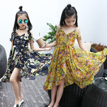 Summer Girls Beach Dresses chiffon Flower Printed Braces with Shoulder Sleeveless Bohemian Long Dress Big Kids Children Clothes