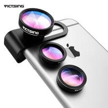 VICTSING 3-in-1 Phone Camera Lens Kit Aluminum Clip-On 180 Degree Fisheye Lens + 0.65X Wide Angle + 10X Macro Lens For iPhone(China)