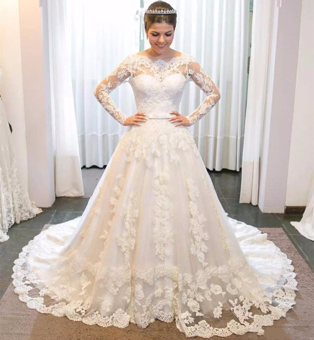 Full Lace Wedding Dresses 2018 with Long Sleeves Appliques Bateau Neck Court Train A Line Wedding Dresses Bridal Gowns