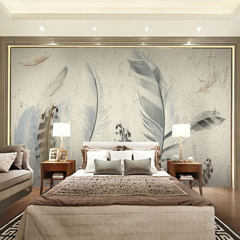 Custom Wall Murals Wallpaper 3D Modern Pastoral Style 3D Wall Murals Wallpaper Abstract Plume Hand Painted Background Wall Mural<br>