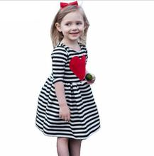 Popular Heart Striped Half Sleeve Girls Dresses Spring Summer Cotton O-neck A-line Mini Children's Dress Vetement Enfant Fille