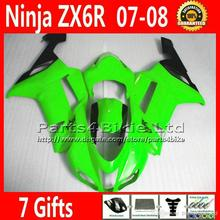 customize new aftermarket for 2007 2008 Kawasaki ZX6R  fairing green black  fairings kits  07 08 ZX-6R  XR4 +7 gifts