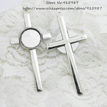 (10pcs/lot) Antique silver Metal Alloy cross 40*84mm (Fit 20mm Dia) Round Cabochon Settings Jewelry Pendant Blanks Charms A4219(China)