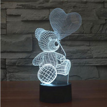 3D Mood Lamp animal cute teddy bear Bulbing Light Love balloon visual light 3d touch button night light Creative gift lamps