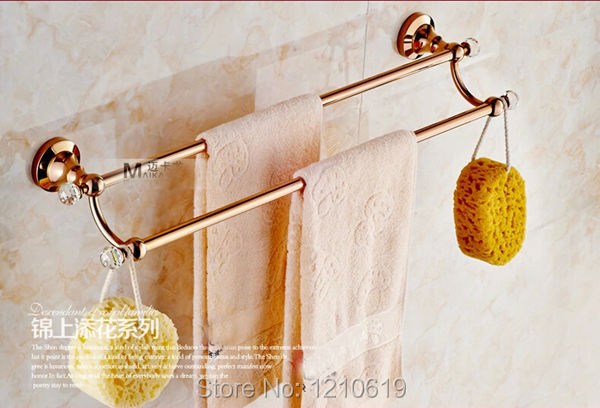 Crystal Ball Rose Golden Finish Bathroom Towel Bar Dual Tiers Solid Brass Wall Mount<br><br>Aliexpress