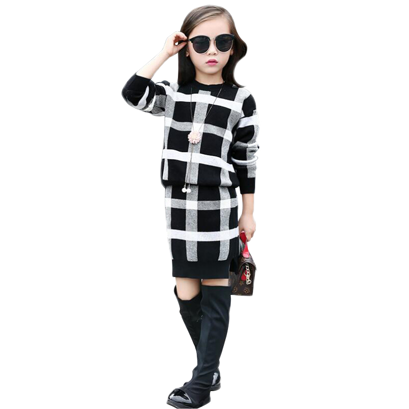 Fashion Slim Girls Clothing Sets Long Sleeve Plaid Sweater Two-piece Skirt Suits Cotton Kids Wear Vetement Fille Split Hem<br><br>Aliexpress