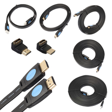 1m/1.8m High Speed HD 4Kx2K Flat HDMI Cable HDMI 2.0 Extension Cord with 90/270 Degree Adapter Full Digital Signal Audio Cable(China)