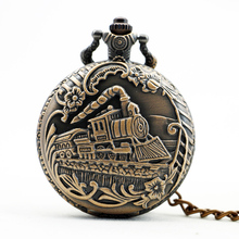 PB400 Bronze Train Front Locomotive Engine Necklace Pendant Quartz Pocket Watch