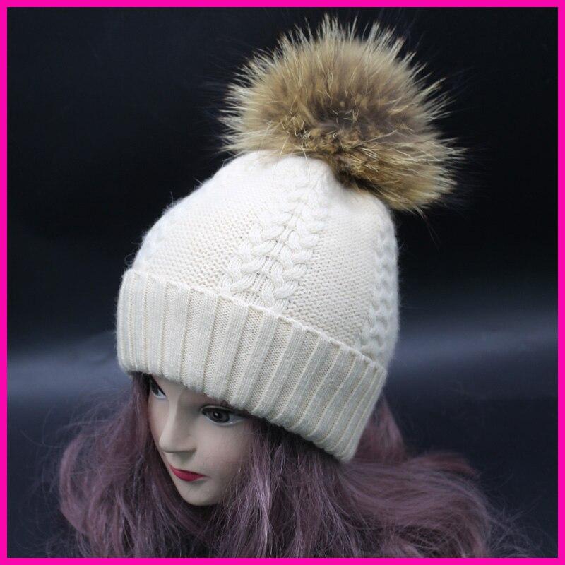 Winter Real Fur Hats Raccoon PomPoms Ball Hat Women Cashmere Wool Headwear Warm Beanies Cap Top Quality Одежда и ак�е��уары<br><br><br>Aliexpress