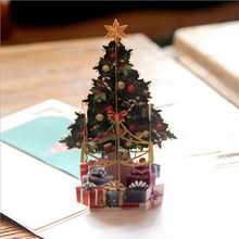 3D Christmas Tree Greeting Cards Paper DIY Hand Made Christmas Gifts Souvenirs Postcards New Year Event Party Supplies YL978221(China)