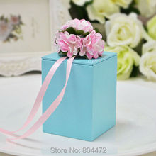 50 Pieces 2016 New Style Rectangle Wedding Favor Box Gift Tin Boxes Aqua Blue Red Green Purple(China)