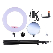 96W 3200-5500K Photo Studio Macro LED Ring Light Video Lamp + 2m Tripod Light stand + Adapter + Make-up Mirror + phone Holder