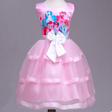 2 Color Cartoon Cute Little Pony Girl Dress  Sleeveless Layered Princess Wedding Dress Bow Flower Girl Dresses Piano Party  YL11