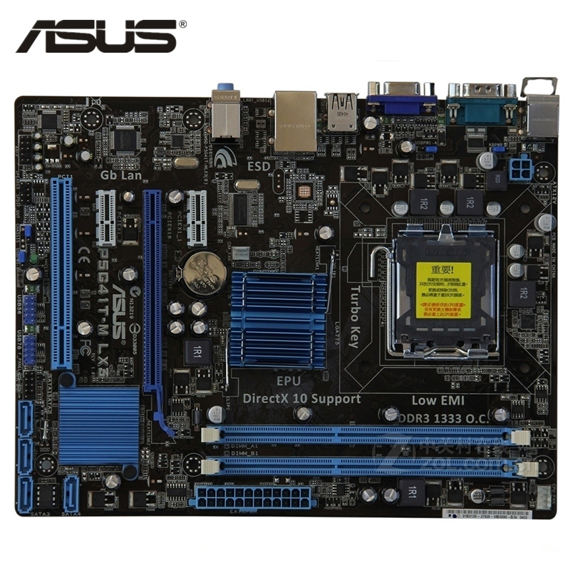 ASUS P5G41T-M LX3 Motherboard LGA 775 DDR3 8GB For Intel G41 P5G41T-M LX3 Plus Mainboard P5G41T SATA II PCI-E X16 Used