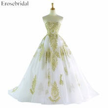 A-Line Sleeveless Wedding Dress With Golden Appliques Sweetheart Lace Up Back Court Train vestido de noiva(China)