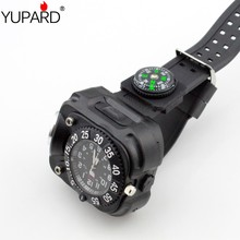 YUPARD Tactical Compass FlashLight Rechargeable Q5 LED Watch Flashlight Wristlight  Wrist Lighting Lamp Outdoor 800LM 5 Modes