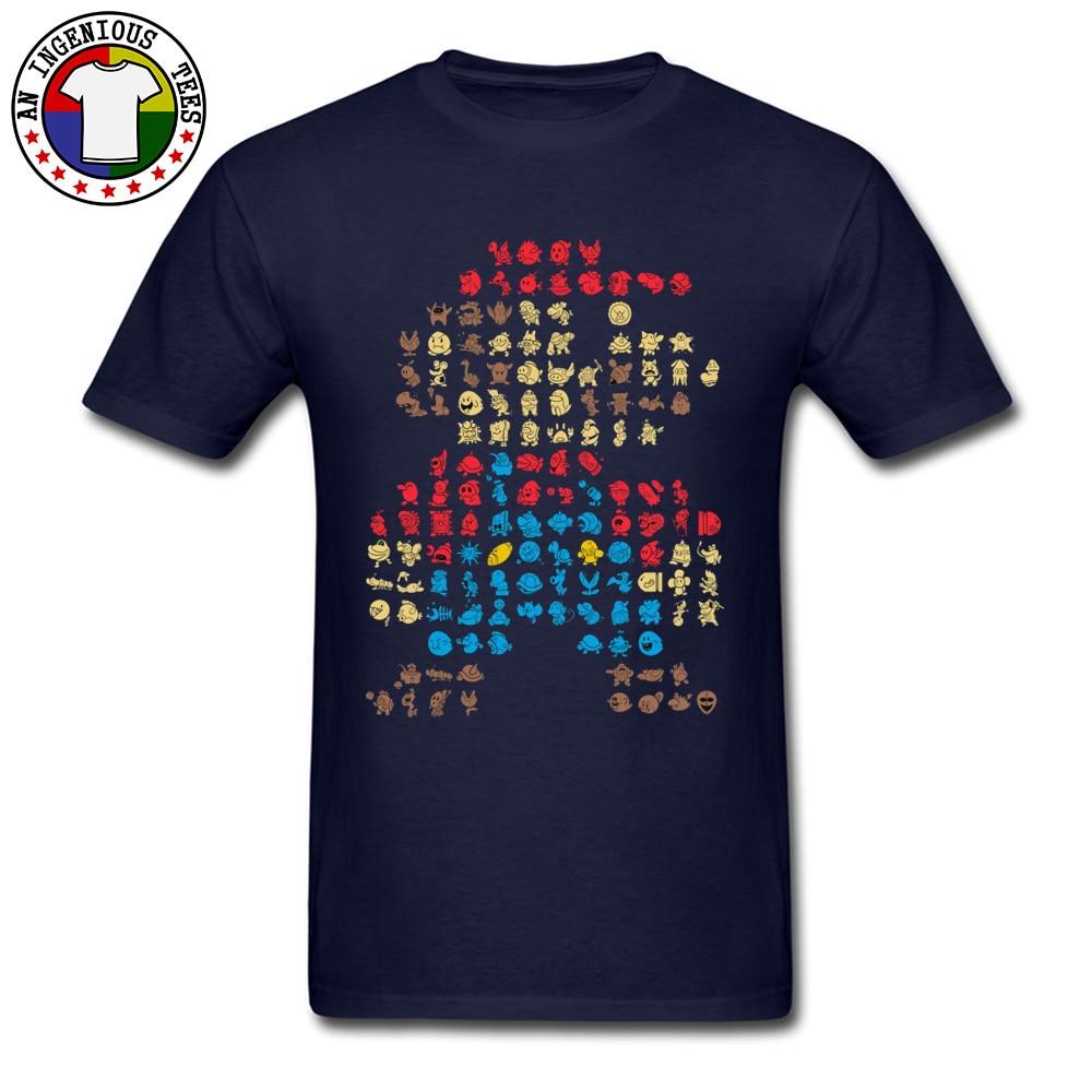 Men's T-Shirt Super-Mario0604 Classic Tops Shirts Cotton O Neck Short Sleeve Normal Tops Shirt Thanksgiving Day Super-Mario0604 navy