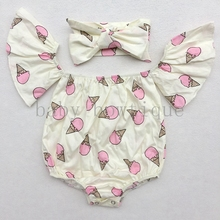 Ice Cream Print Summer Baby girls off the shoulder romper with headwrap(China)