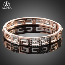 AZORA Brand Design Rose Gold Color G Style Rhinestones Paved Bangle Bracelet TB0015(China)