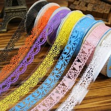 4pcs /lot Lace Tape Decoration Roll Candy Colors DIY Decorative Sticky Paper Masking Tape Self Adhesive Tape Scrapbook Tape