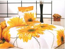 brand new 100% cotton bed sheets yellow sun flower floral pattern queen size bedding sets comforter quilt/duvet covers sets 4pc