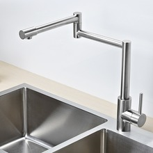 Solid stainless steel pot filler kitchen bar sink faucet,brushed nickel, dual joint swing Arm,hot and cold water,can be folded(China)