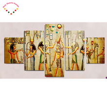 5pcs Abstract Ancient Egyptian Decorative diamond painting Home Decor, 5d diamond embroidery Wall picture For Living Room art(China)