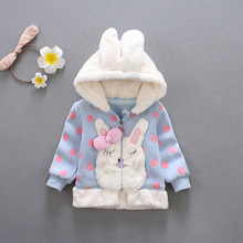Autumn Winter Baby Girls Infants Lovely Rabbit Dot Hooded Jacket Princess Girls Coats Outerwear Casaco(China)