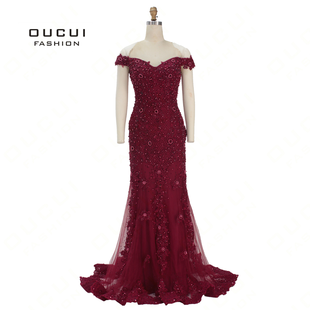 New Arrival Full Pearls Off Shoulder Mermaid Formal Evening Dress 2019 Red Sexy V-Neck Long Prom Dresses Party Robe OL103361(China)