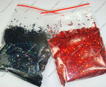 "50g x 1/24""(1mm)Laser Holographic Black&Red Dazzling Hexagon Glitter Paillette Spangles Shape for Nail Art and Glitter Crafts(China)"