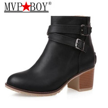 MVP BOY size 34-43 Autumn Winter Women Snow Boots Casual Ladies shoes Martin boots Suede Leather ankle boots High heeled zipper
