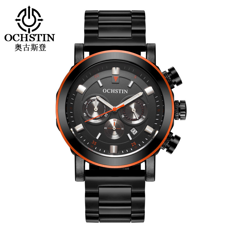 luxury mens watches black gold silver 316L stainless steel big dial man sports wristwatch waterproof calendar Chronograph clocks<br>