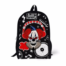 FORUDESIGNS Cool Clown Skull Printing Backpack for Boys,Fashion 16 Inch Backpacks,Soft High Quality School Book Bags For Kids(China)