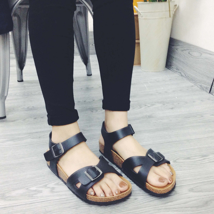 Cork sandals woman zapatos mujer flip flops beach shoes platform wedges solid color gladiator huarache shoes sandalias femeninas<br><br>Aliexpress