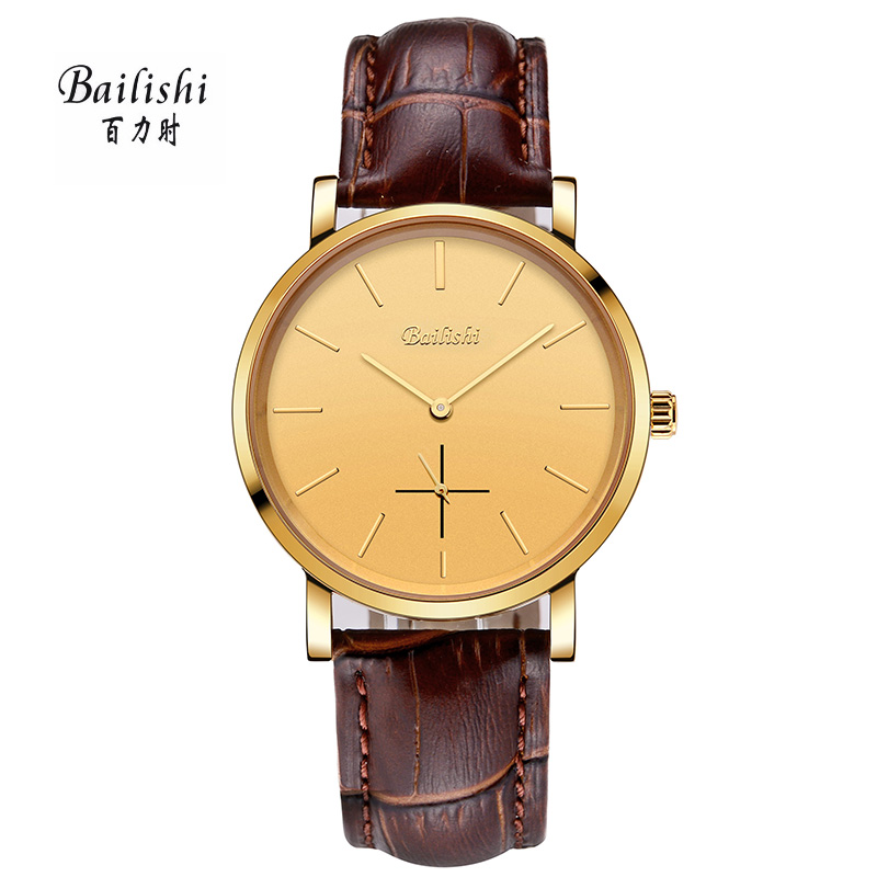 BAILISHI gold men watch brown genuine leather quartz male wristwatches brand luxury waterproof mans watch relogio masculino<br>