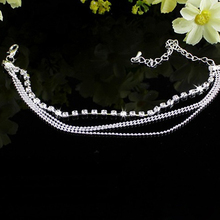Fashion 4 layers Crystal Beading Silver Stretch Anklet Foot Chain Rhinestone Ankle Bracelet tornozeleira femininas