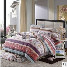 Chic Floral Print Bedding Sets of Quilt Cover&Bed Skirt&Pillow Cover 40s Cotton Bed Sheet Set Bed Linen Queen/Full Size(China)