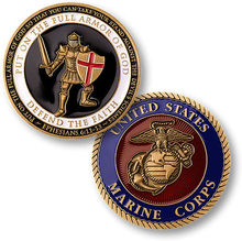 Free Shipping 4pcs/lot,U.S. Marine Corps Challenge Coin Ephesians 6:11--13 Put on the Full Armor of God Challenge Coin